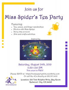 Miss Spider's Tea Party @ Sobrato Center for Nonprofits-Bay Room | Redwood City | California | United States